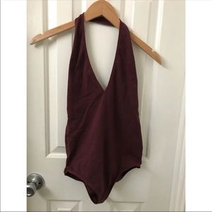 American Apparel Maroon Cotton Bodysuit